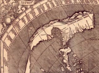 Detail van de kaart van Waldseemüller met de vermeende doorgang naar Azië, ergens in Midden-Amerika.