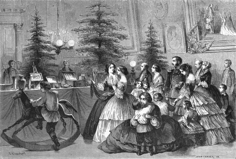 Kerstbomen in Rusland, 1861 - Gravure van  Pharamond Blanchard