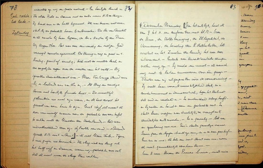 Dagboek Jan de Quay 3 en 4 december 1944 (Afb: BHIC)