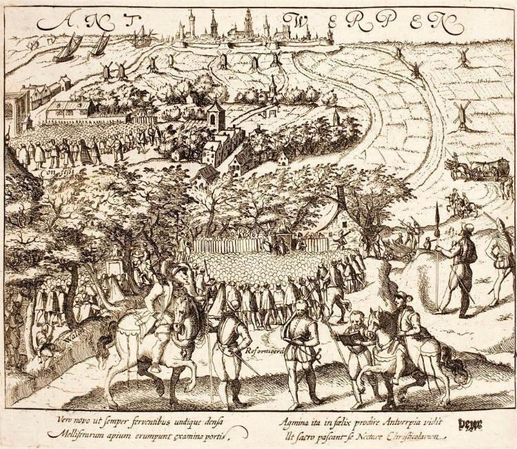Hagenpreken buiten Antwerpen, 1566, anoniem, naar Frans Hogenberg, 1613 - 1615