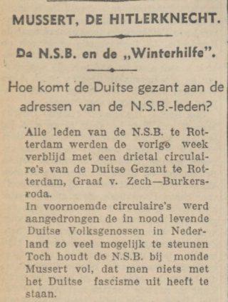 'Mussert, de Hitlerknecht' - De Tribune, 12 november 1935