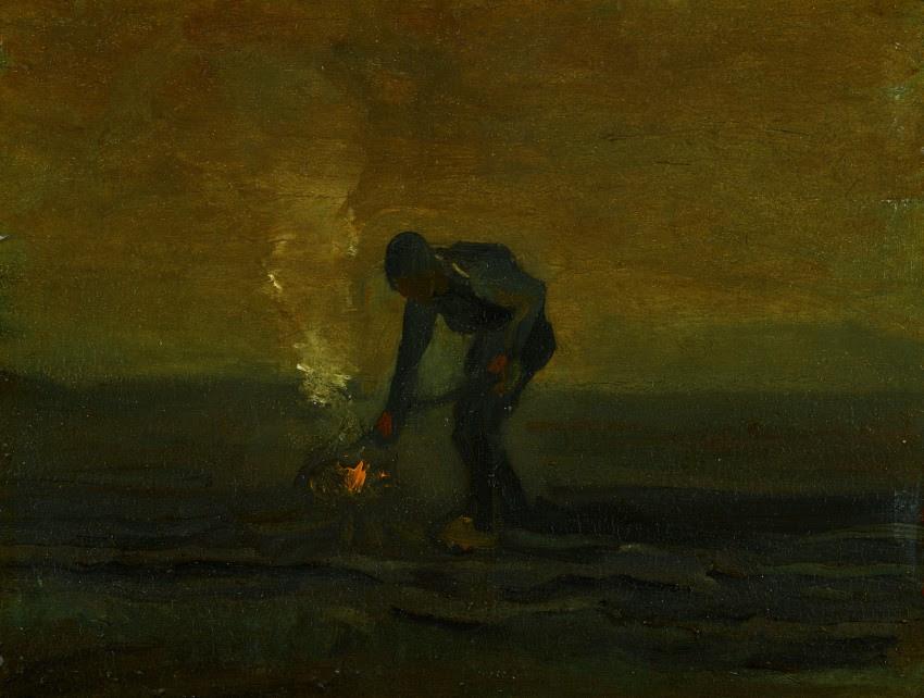Vincent van Gogh (1853-1890), Onkruid verbrandende boer, 1883, olieverf op doek op paneel, 30,5 × 39,7 cm, Van Gogh Museum, Amsterdam / Drents Museum, Assen