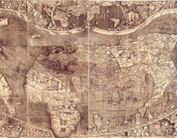 De hartvormige wereldkaart van Martin Waldseemüller uit 1507, waarop voor het eerst de naam 'America' wordt vermeld – voor het zuidelijke deel van het continent.