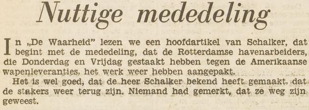 Afbeelding Vrije Volk – 'Nuttige mededeling'  08-05-1950
