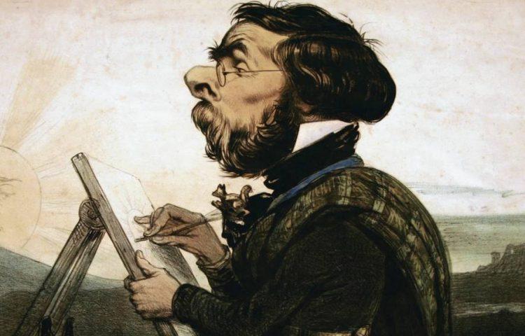 Louis Ghémar, detail van een spotprent van zichzelf