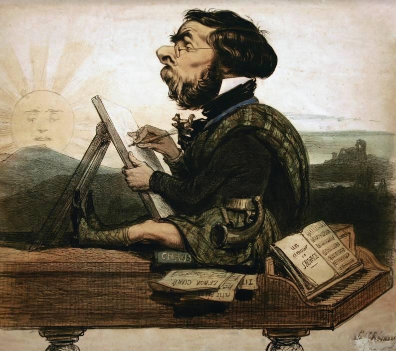 Spotprent Louis Ghémar zingend op de piano met Schots rokje voor zijn vertrek naar Schotland