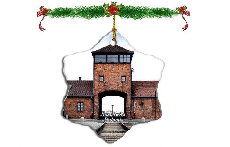 Auschwitz-kerstversiering die te koop aan werd geboden door Amazon