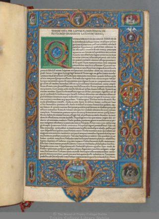 Het oudste boek in de Fagel collectie: Vitae virorum illustrium [= Leven van beroemde mannen] (Venetië, Nicolaas Jenson, 1478). Signatuur: Fag.GG.2.1.