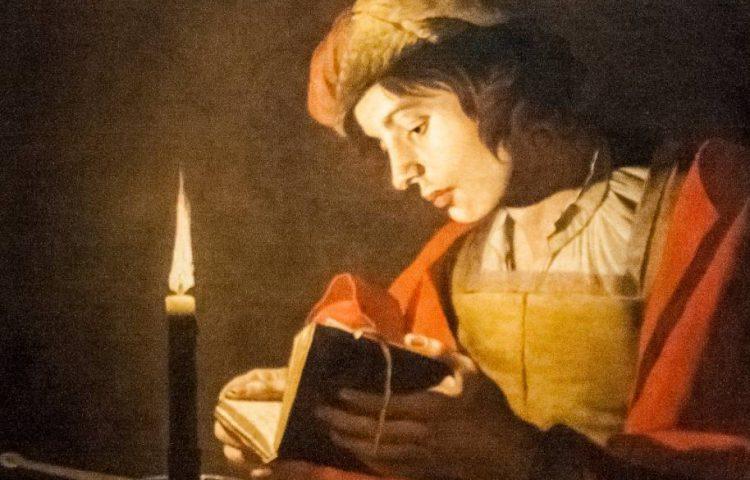 Lezende jongeman bij kaarslicht - Matthias Stom, 17e eeuw