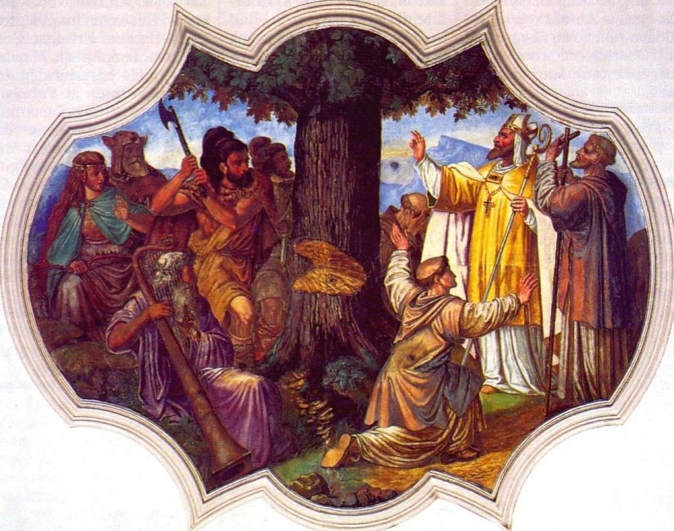 Bonifatius laat de heilige eik omhakken - Schilderij uit 1737