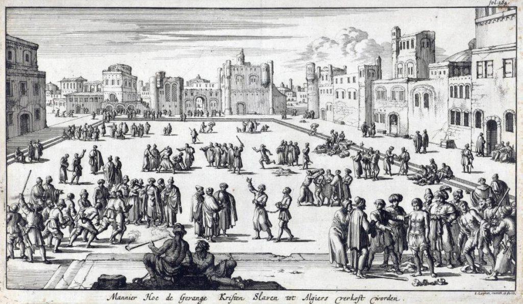 Christelijke gevangenen worden op een plein te Algiers als slaaf verkocht, Jan Luyken, 1684