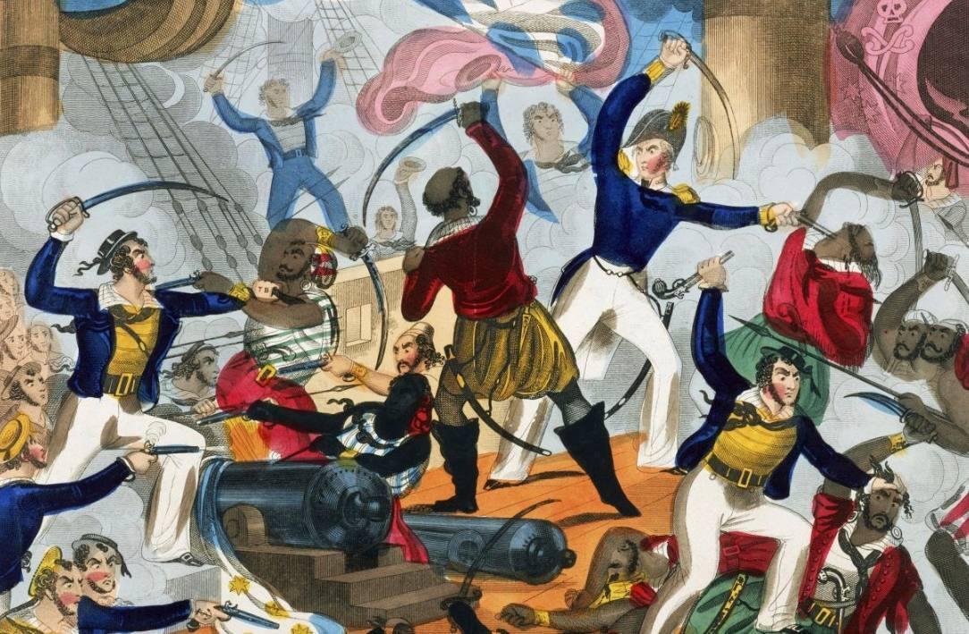 Britse zeelieden in gevecht met Barbarijse zeerovers - John Fairburn