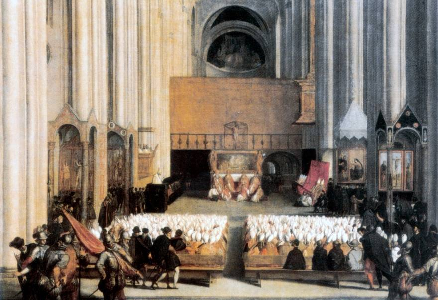 Een zitting van het Concilie van Trente in 1563