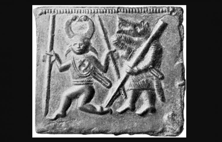 Odin gevolgd door een Berserker