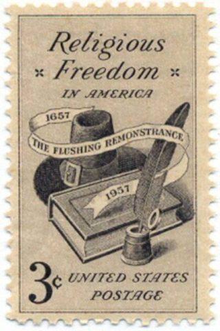 Remonstrantie van Vlissingen (Flushing Remonstrance) op een Amerikaanse postzegel