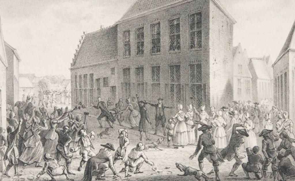 Afbeelding van het IJzerkoekenoproer in Coevorden gemaakt door Hilmar Johannes Backer (1804-1845)