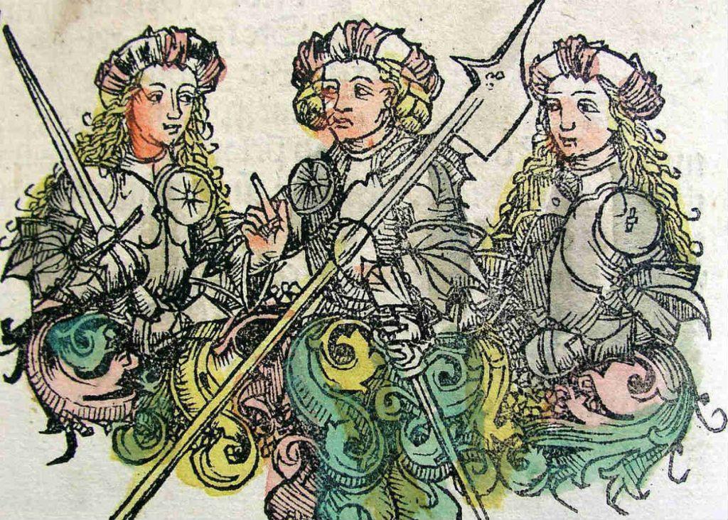 Afbeelding van Amazones in de Kroniek van Neurenberg, 1493