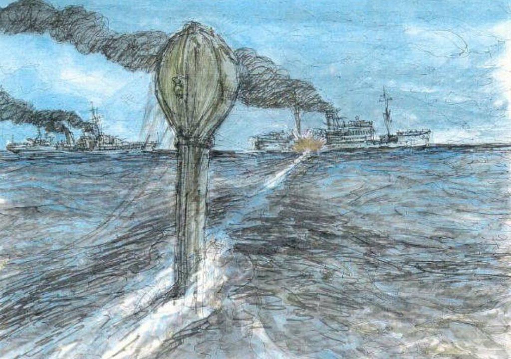 Torpedo-inslag - Tekening Rickard Rockwell