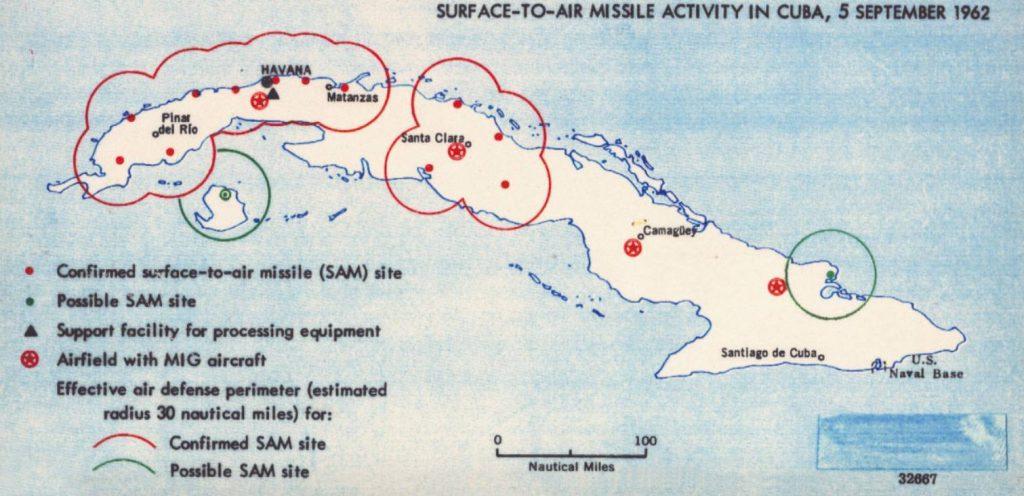 Kaart gemaakt door de Amerikaanse veiligheidsdienst met daarop (mogelijke) raketinstallaties op Cuba, 5 september 1962