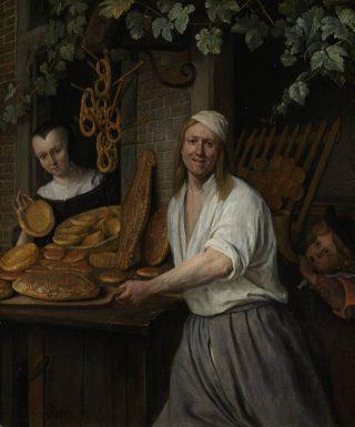 Bakker Arent Oostwaard en zijn vrouw Catharina Keizerswaard met allerlei verschillende soorten vers gebakken brood, waaronder duivekater - Jan Steen