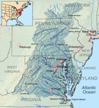 Kaart van de Chesapeake Bay