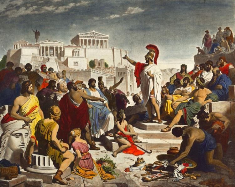 Perikles spreekt de volksvergadering van Athene toe (door Philipp von Foltz, 1877). Publiek domein / wiki