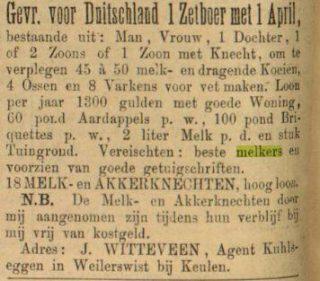 Advertentie in de Leeuwarder Courant van 15-03-1900
