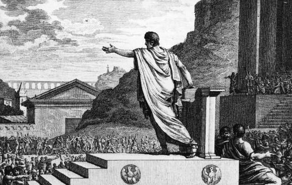 Volkstribuun Gaius Gracchus spreekt het volk toe.