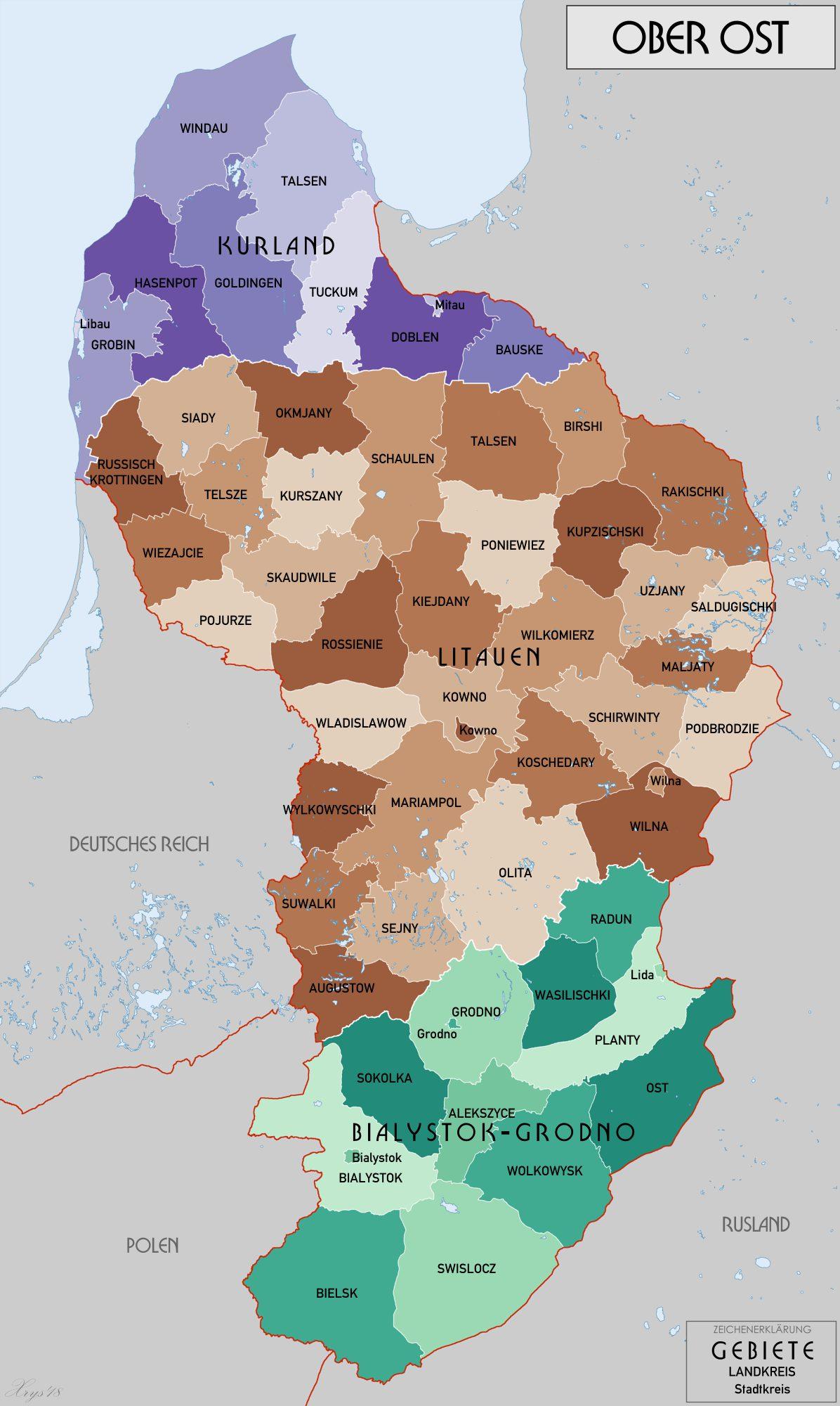 Kaart van Ober Ost