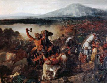Roger I bij de Slag om Cerami op Sicilië, waarbij hij 35.000 moslims versloeg. Publiek domein/ wiki