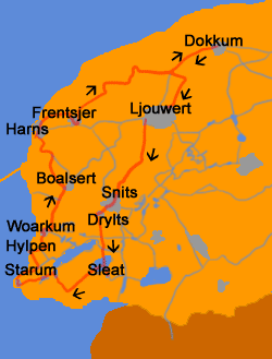 Route van de Elfstedentocht met de Friese plaatsnamen