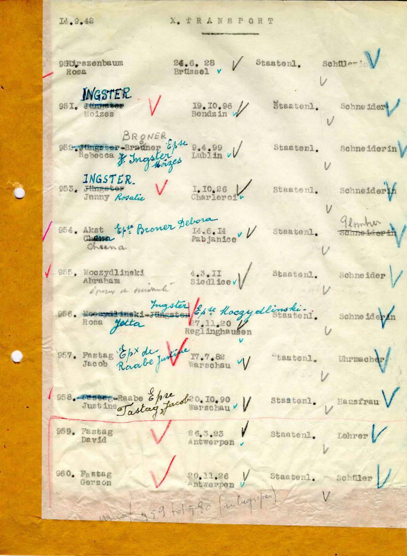 Transportlijst uit Dossin getypt door Eva Fastag, voor Transport X in september 1942, waarmee ook de ouders en broers Fastag en Mala Zimetbaum naar Auschwitz werden gedeporteerd.