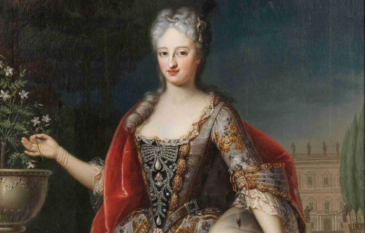 Anna Christina prinses van Palts-Sulzbach (1704-1723). Deze stiftdame uit Thorn trouwt in 1722 met Karel Emmanuel erfprins van Piëmonte-Savoye, maar zij overlijdt kort na haar eerste bevalling. Olieverfschilderij van onbekende schilder. (Castello Reale di Racconigi, Italië)