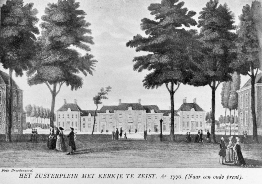 Zeist - Zusterplein met kerkje Anno 1770