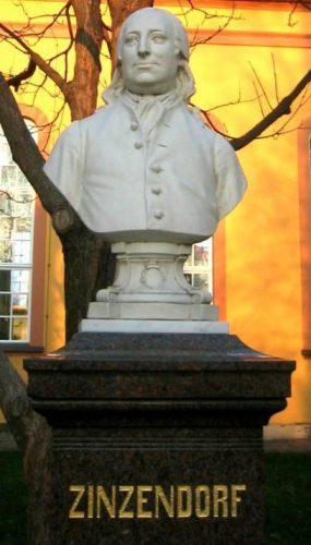 Gedenksteen voor Nikolaus Ludwig von Zinzendorf in Herrnhut