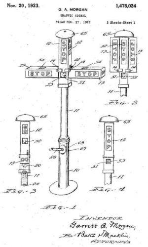 Patenttekening voor het verkeerslicht van Garrett Morgan
