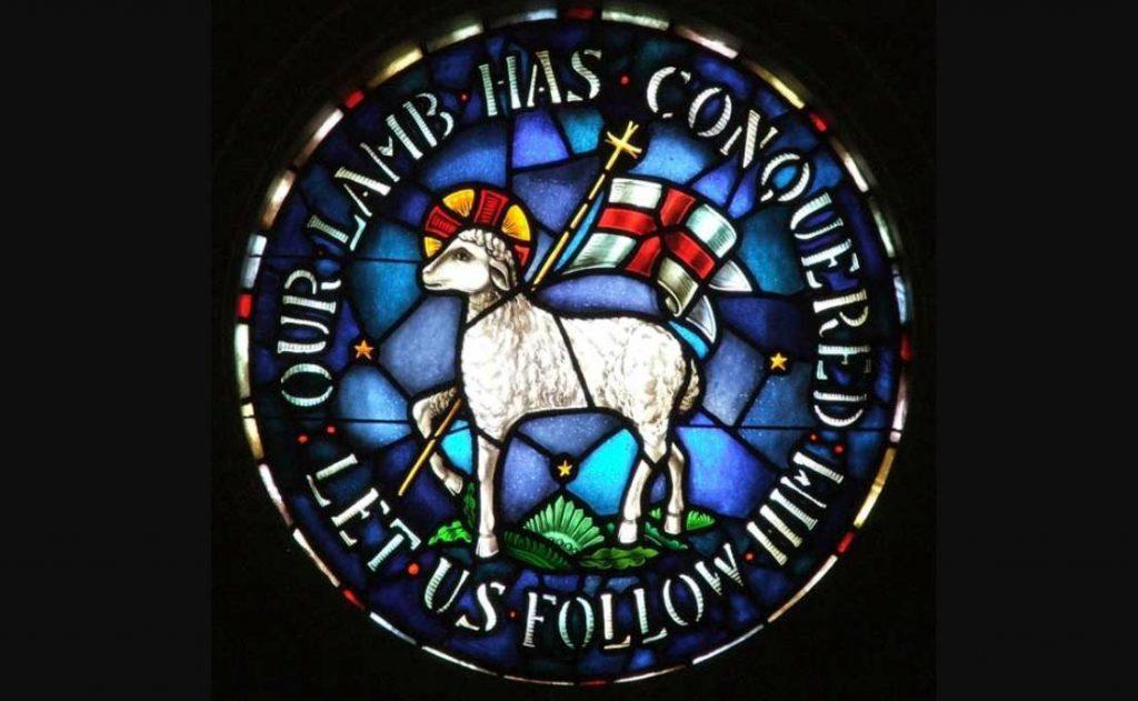 Zegel van de Evangelische Broedergemeente in een kerk in Winston-Salem