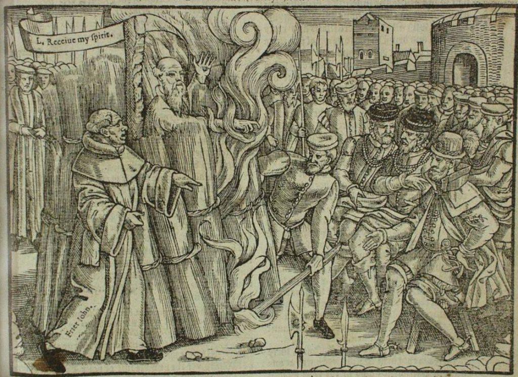 De dood van Thomas Cranmer - Afbeelding in het boek van John Foxe uit 1563
