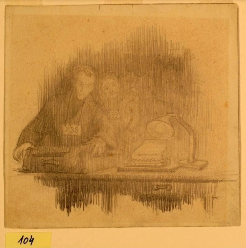 Tekening van de schrijftafel van Eva Fastag
