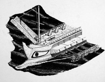 Impressie van een tijdens de Eerste Punische Oorlog gebruikte Romeinse quinquereem met 'kraai' (corvus)