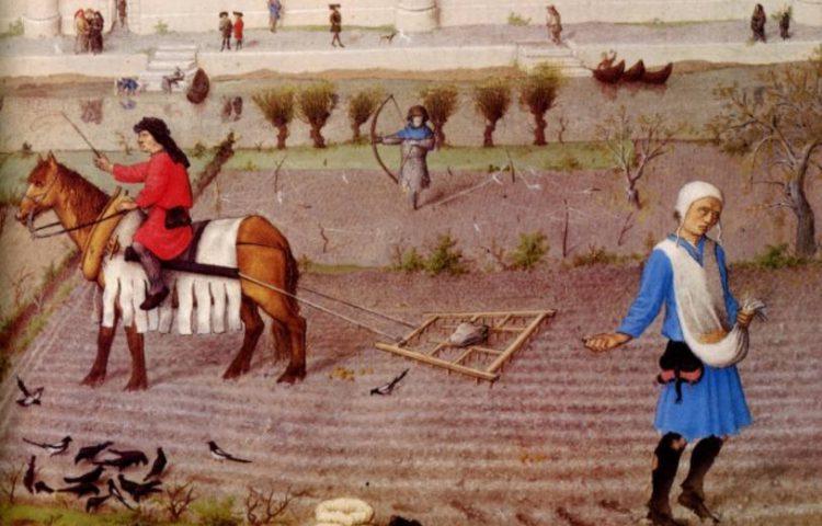 Horigen en horigheid - Afbeelding uit Les Très Riches Heures du duc de Berry, 15e eeuw