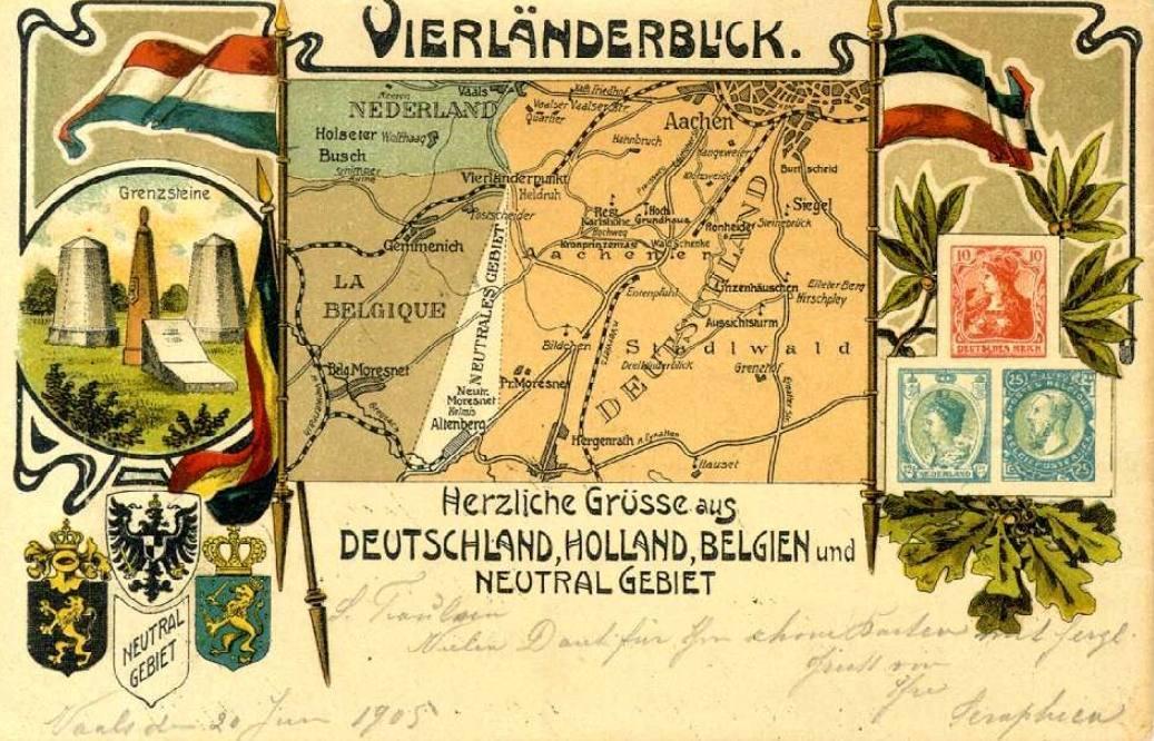 Ansichtkaart uit 1905 van het toenmalige Vierlandenpunt bij Vaals