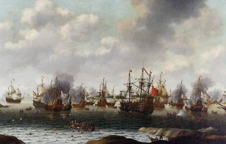 Nederlandse vloot tijdens de Tocht naar Chatham - Pieter Cornelisz van Soest