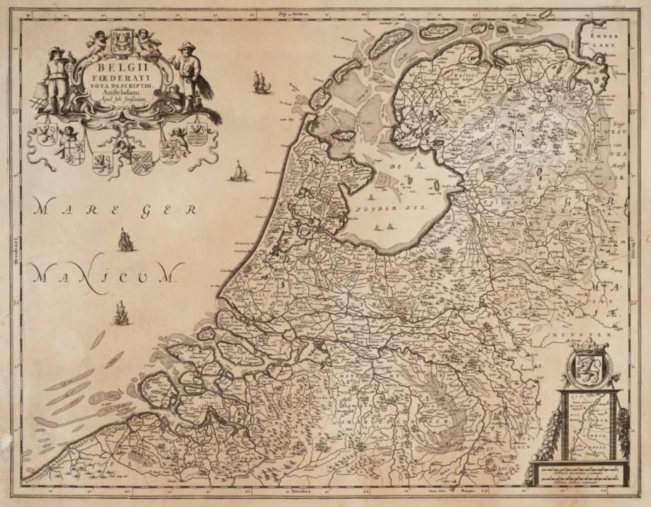 """Overzichtskaart van de Republiek, van Johannes Janssonius; uit diens collectie """"Belgii Foederati Nova Descriptio"""", gepubliceerd te Amsterdam in 1658"""