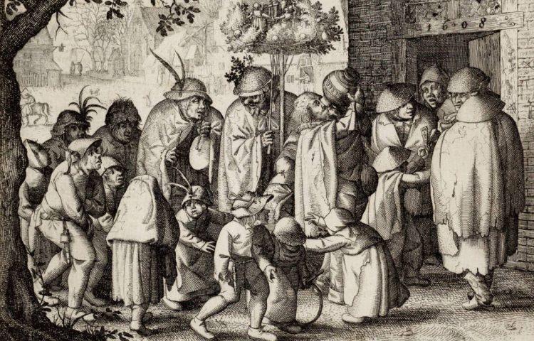 Optocht van de leprozen op Koppermaandag in Amsterdam - Claes Jansz Visscher, 1608