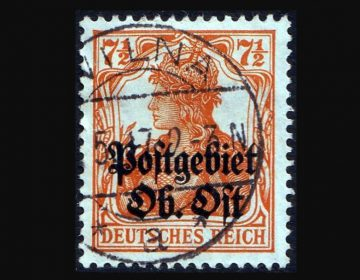 Postzegel uit het 'Postgebiets des Oberbefehlshabers Ost', gestempeld in Wilna, het huidige Vilnius