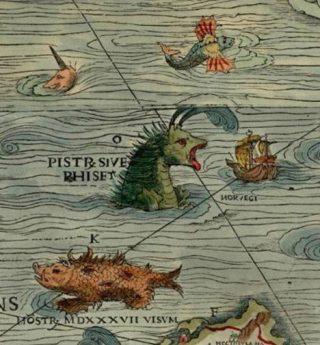 Zeemonsters op de Carta Marina van Olaus Magnus