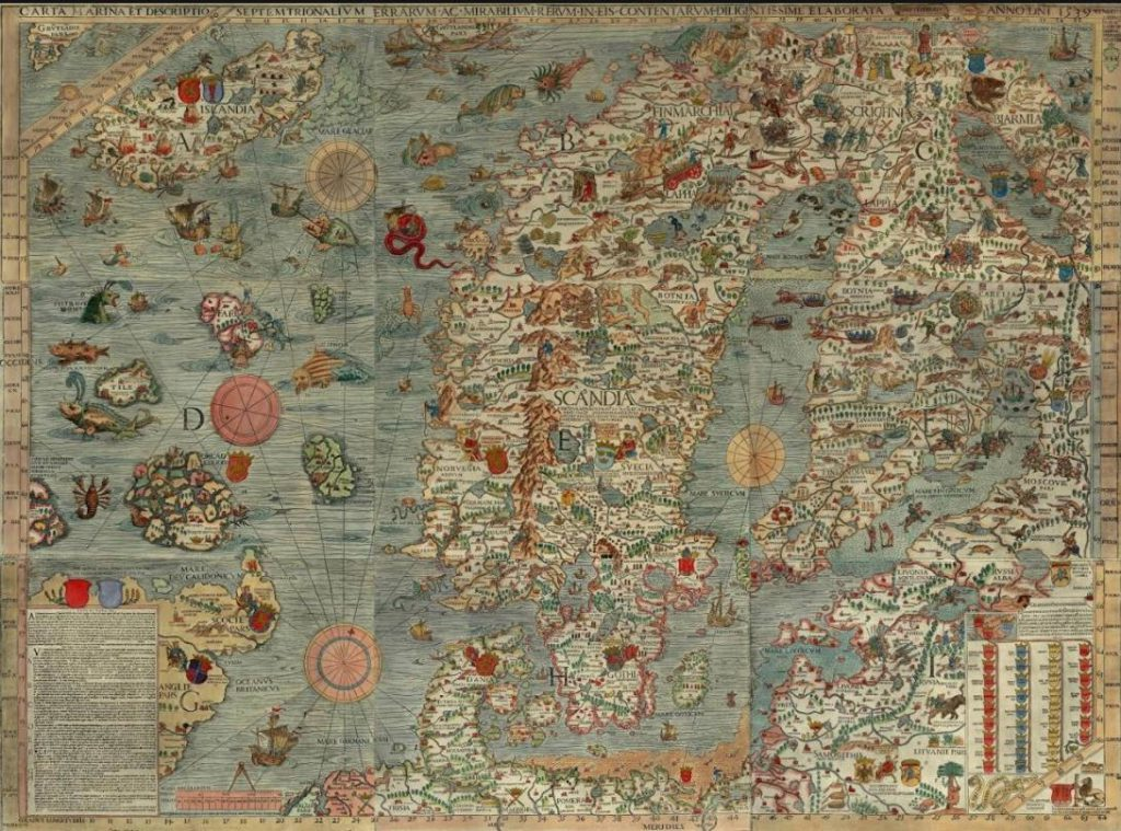 Olaus Magnus, Carta Marina. Collectie James Ford Bell Library, University of Minnesota