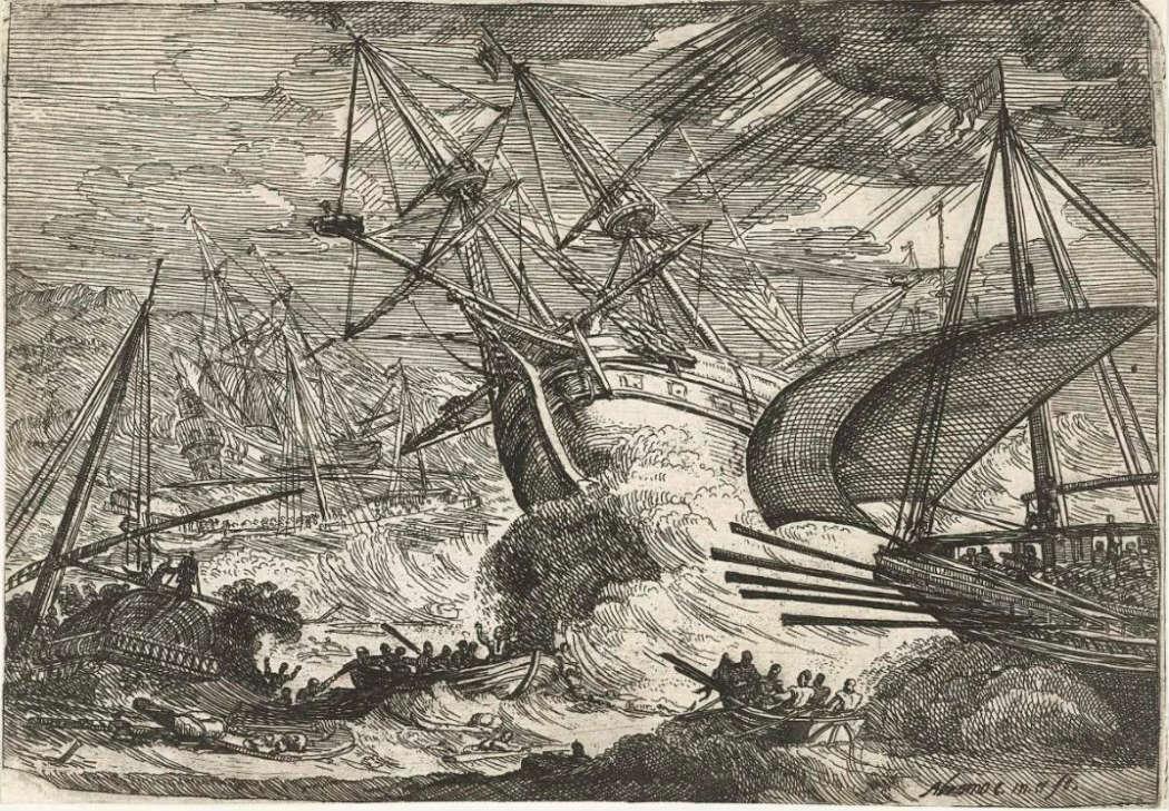 Abraham Casembroot, Storm op zee. Gezichten van de haven van Messia, Collectie Rijksmuseum