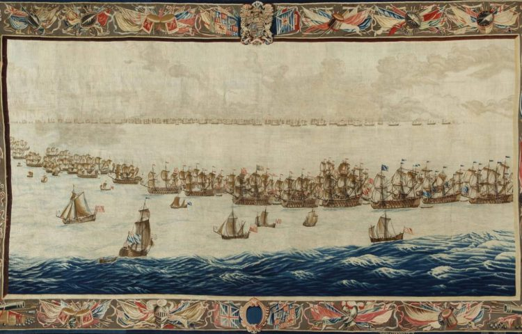 The Fleets drawn up for Battle, geweven naar een ontwerp van Willem van de Velde de Oude, 5,87 x 3,30 meter, geweven na 1685. (Scheepvaartmuseum Amsterdam)
